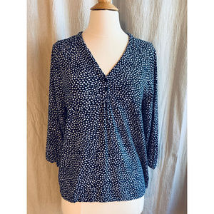 Navy & White Cynthia Rowley Blouse, Size Small